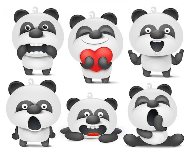 Zestaw znaków emoji kreskówki panda w różnych sytuacjach.