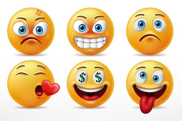 Zestaw znaków emotikonów uśmiechniętych twarzy, mimika uroczych żółtych twarzy w złości, zakochaniu, szaleństwie i smutku.