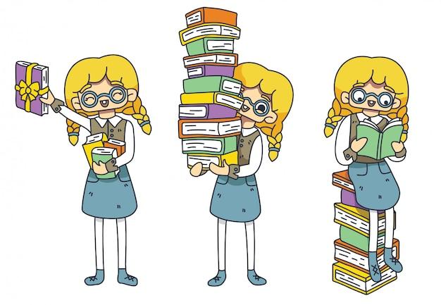Zestaw znaków fan literacki. europejska dziewczyna w okularach czyta książki. promocja książek, sprzedaż księgarni. czwarta książka w prezencie. międzynarodowy dzień książki dla dzieci. dzień studenta. izolowany.