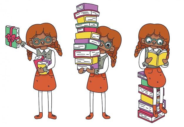 Zestaw znaków fan literacki. nerd afrykańskiej dziewczyny w okularach siedzi na książki. stos książek, zapas w księgarni. międzynarodowy dzień książki dla dzieci. dzień studenta. ilustracja na białym tle.