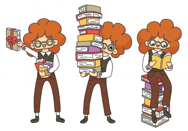 Zestaw znaków fan literacki. rudowłosy kujon w okularach ze stosem książek. zarezerwuj jako prezent. sprzedaż książek, czas. międzynarodowy dzień książki dla dzieci. dzień studenta. ilustracja na białym tle.