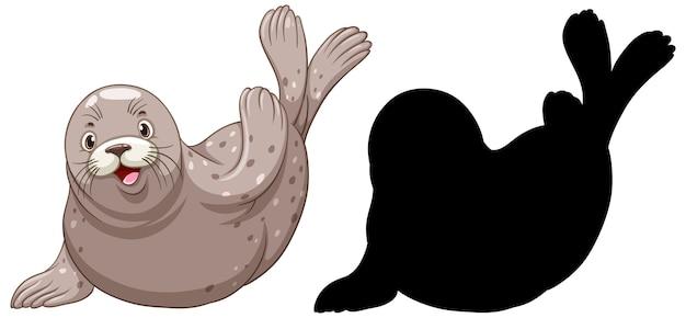 Zestaw znaków foki i jego sylwetka na białym tle