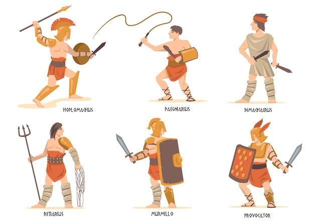Zestaw znaków gladiatorów. starożytni rzymscy i greccy wojownicy, postacie z mitologii, żołnierze spartańscy z mieczami i tarczami.