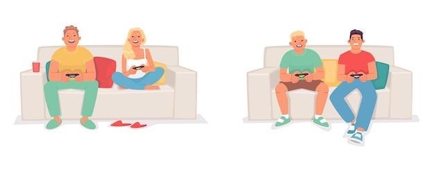 Zestaw znaków grających w gry wideo na konsoli. przyjaciele i kilkoro młodych ludzi siedzi na kanapie trzymając w rękach joysticki. ilustracja wektorowa w stylu płaski