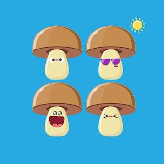 Zestaw znaków grzybów śmieszne kreskówka na niebieskim tle