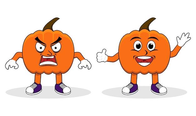 Zestaw znaków halloween pumpkins płaski