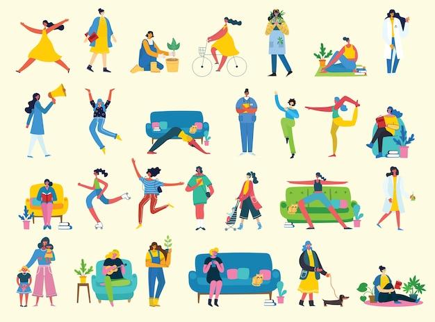 Zestaw znaków ilustracji inteligentnej kobiety biznesu w różnych działaniach