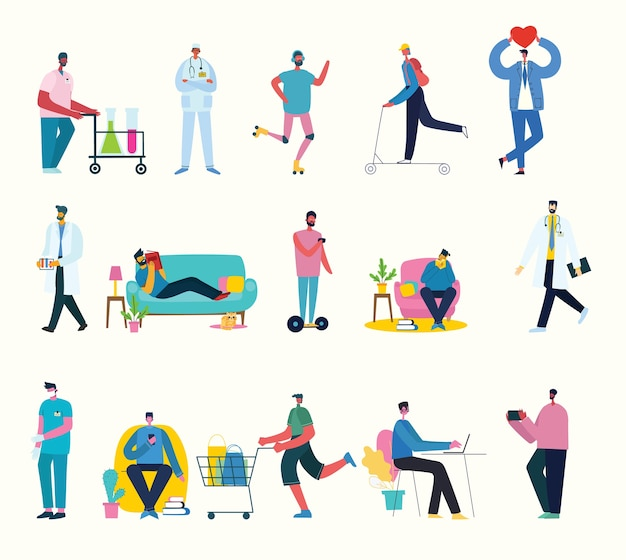 Zestaw znaków ilustracyjnych inteligentnego biznesmena w różnych czynnościach, akcji, gestach, w codziennym życiu zawodowym