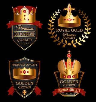 Zestaw znaków jakości premium ze złotą koroną