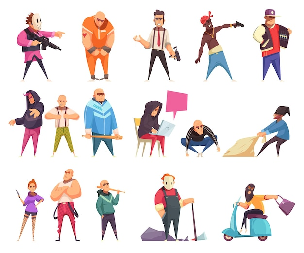 Zestaw znaków karnych izolowanych postaci z kreskówek ludzkich postaci złodziei oszustów i gangsterów z ilustracji wektorowych broni