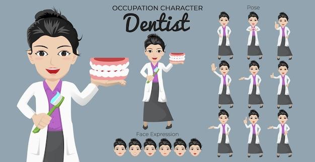 Zestaw znaków kobiece dentysta z różnymi pozami i wyrazem twarzy