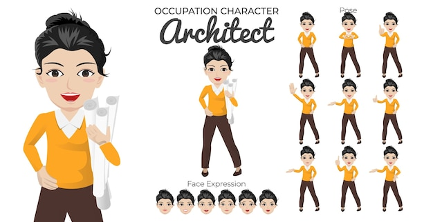 Zestaw znaków kobiecego architekta z różnymi pozami i wyrazem twarzy