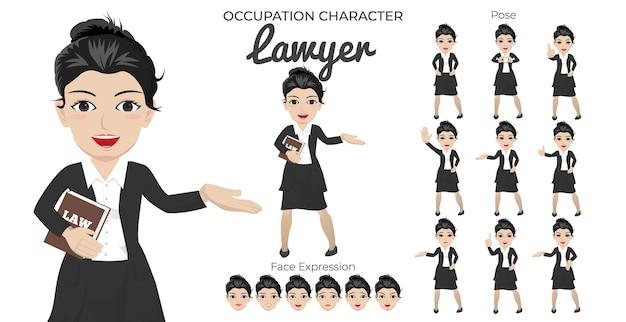 Zestaw znaków kobiecego prawnika z różnymi pozami i wyrazem twarzy
