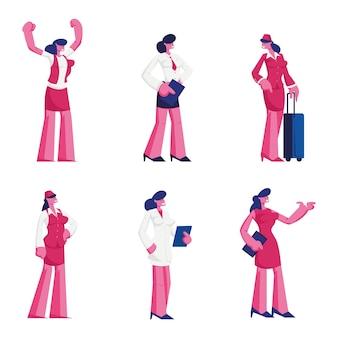 Zestaw znaków kobiecych różnych zawodów w mundurze. płaskie ilustracja kreskówka