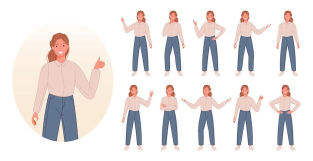 Zestaw znaków kobiet biznesu pokazujący różne gesty