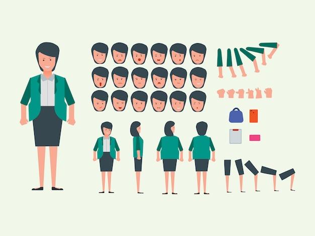 Zestaw znaków kobiet pracownika