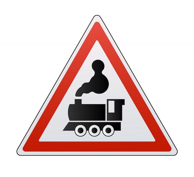 Zestaw znaków kolejowych na białym tle