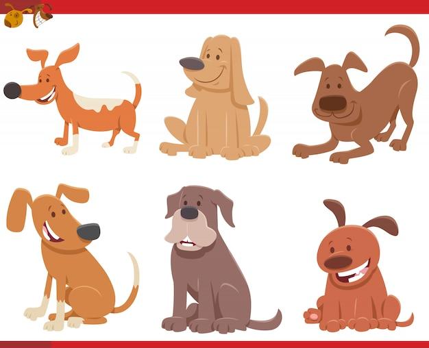 Zestaw znaków komiks kreskówka psy i szczenięta