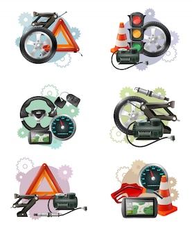 Zestaw znaków konserwacji samochodu