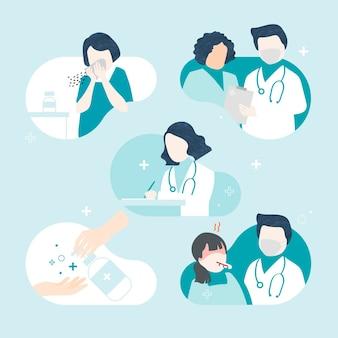 Zestaw znaków koronawirusa i choroby