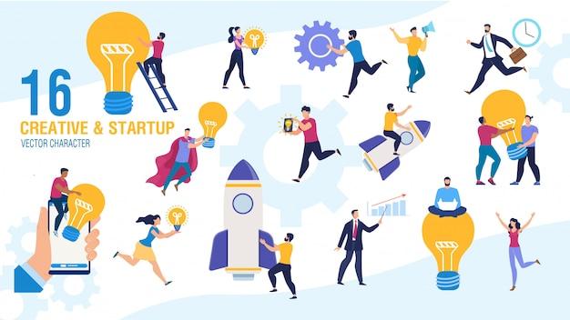 Zestaw znaków kreatywnych ludzi biznesu