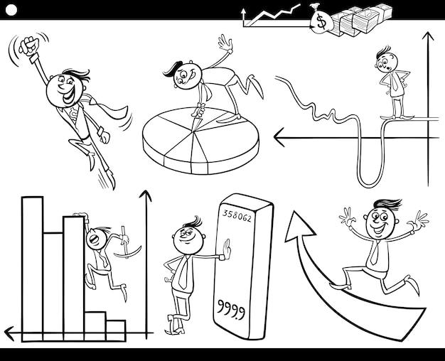 Zestaw znaków kreskówek biznesmenów