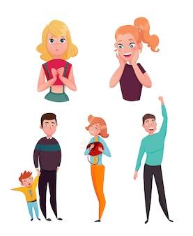 Zestaw znaków kreskówek emocje ludzi