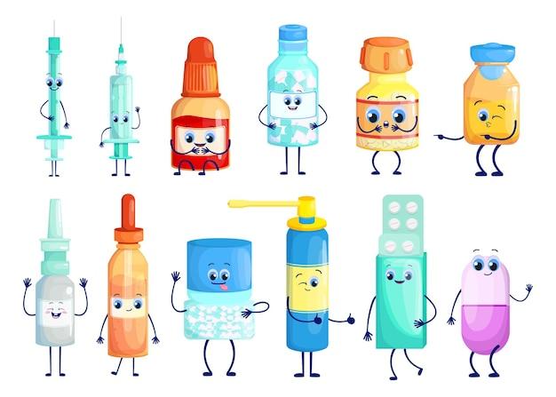 Zestaw znaków kreskówek farmaceutyków