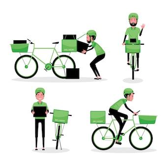 Zestaw znaków kreskówek firmy logistycznej przedstawiający mężczyznę dostarczającego paczkę z rowerem