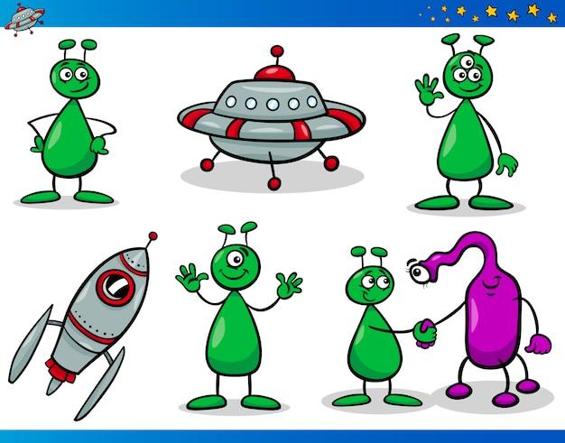Zestaw znaków kreskówek kosmici lub marsa