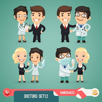 Zestaw znaków kreskówek lekarze