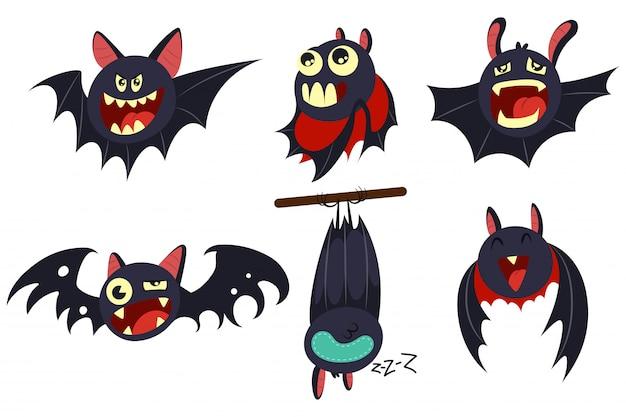 Zestaw znaków kreskówek nietoperza wampira na białym tle.
