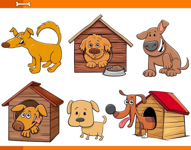Zestaw znaków kreskówek psów i szczeniąt