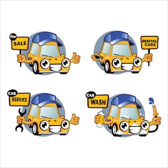 Zestaw znaków kreskówek samochodów, wynajem samochodów, serwis myjni samochodowych