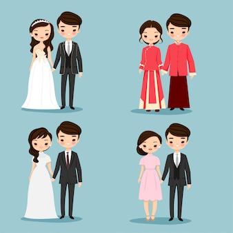 Zestaw znaków kreskówka azjatyckich para cute