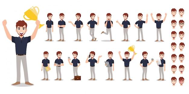 Zestaw znaków kreskówka biznesmen. przystojny biznesmen pracuje w biurze i prezentacji w różnych działań.