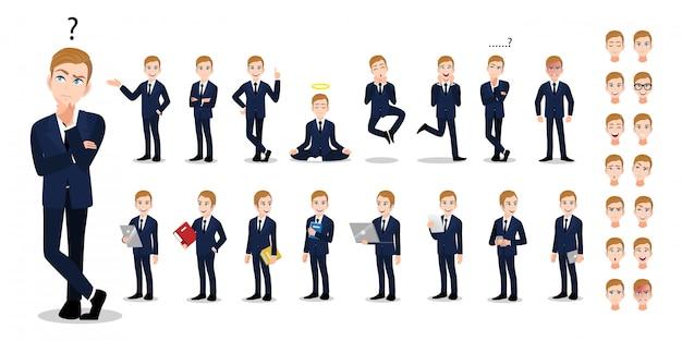 Zestaw znaków kreskówka biznesmen. przystojny biznesmen w biurze styl elegancki garnitur.
