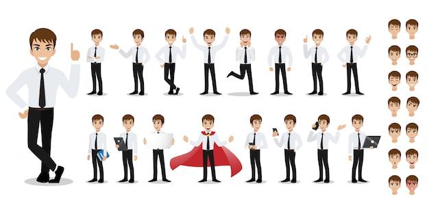 Zestaw znaków kreskówka biznesmen. przystojny biznesmen w biurze styl inteligentnych koszuli.