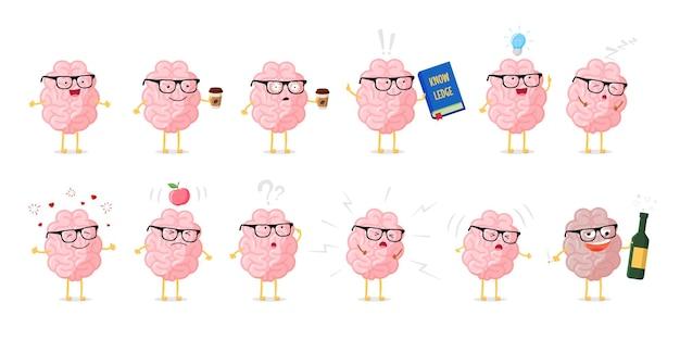 Zestaw znaków kreskówka emocje mózgu. symbol edukacji i wiedzy. ludzki centralny układ nerwowy zdrowy i chory narząd zabawna kolekcja. ilustracja wektorowa