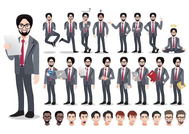Zestaw znaków kreskówka indyjski biznesmen. przystojny biznesmen w elegancki garnitur w stylu biurowym.