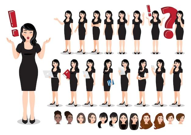 Zestaw znaków kreskówka interesu. piękna biznesowa kobieta w czarnej sukni.