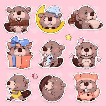 Zestaw znaków kreskówka kawaii ładny bóbr. urocza, szczęśliwa i zabawna maskotka zwierząt na białym tle naklejki, pakiet łat, odznaki dla dzieci. anime dziewczynka bóbr emoji, emotikon na różowym tle