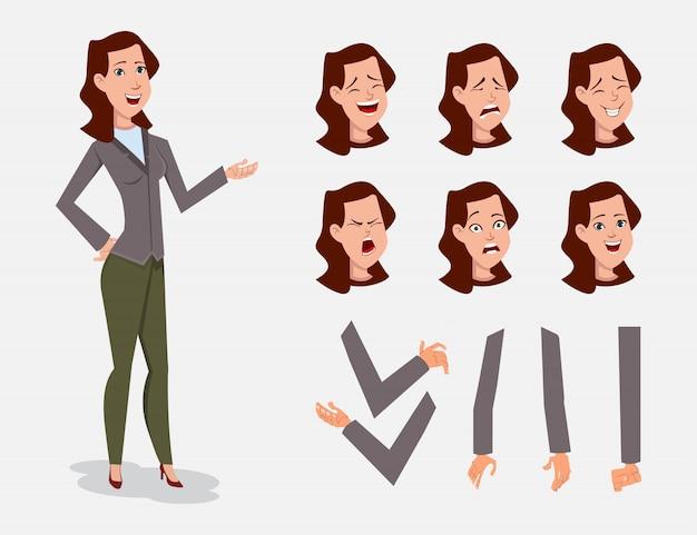 Zestaw znaków kreskówka kobieta biznesu