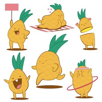 Zestaw znaków kreskówka ładny ananas na białym tle