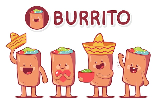 Zestaw znaków kreskówka ładny burrito na białym tle