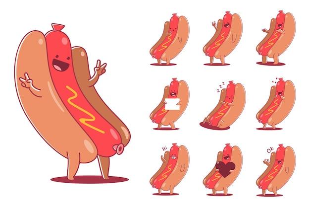 Zestaw znaków kreskówka ładny hot dog na białym tle