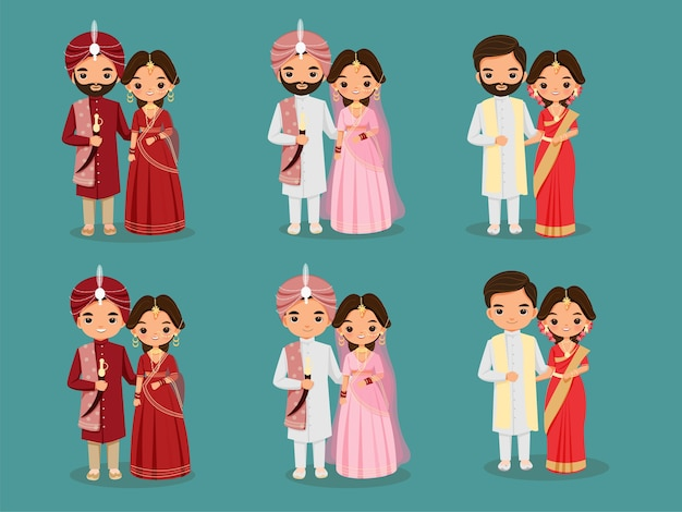 Zestaw znaków kreskówka ładny indyjski ślub para