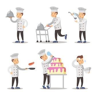 Zestaw znaków kreskówka ładny kucharz. mężczyzna gotuje.