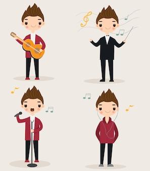Zestaw znaków kreskówka ładny muzyk
