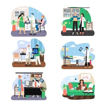 Zestaw znaków kreskówka lekarz i pacjent, mężczyzna, kobieta